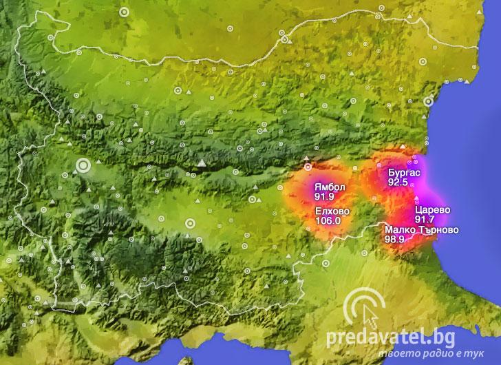 Karta Na Pokritie Na Bnr Burgas Predavatel Blgariya